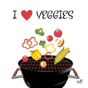 60x Bbq thema feest servetjes 33 x 33 cm I love veggies opdruk